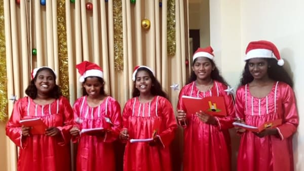 Girls all dressed up for the Christmas show